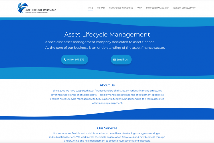 Asset Lifecycle Management Website home page
