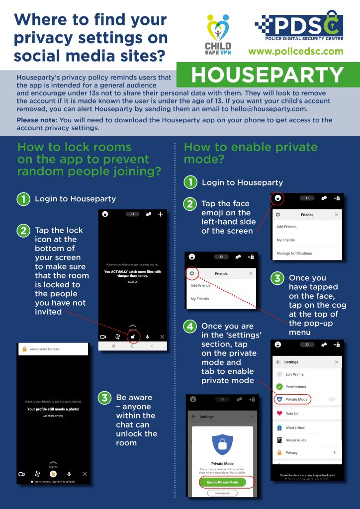PDSC Infographic on where to find your privacy settings on Houseparty