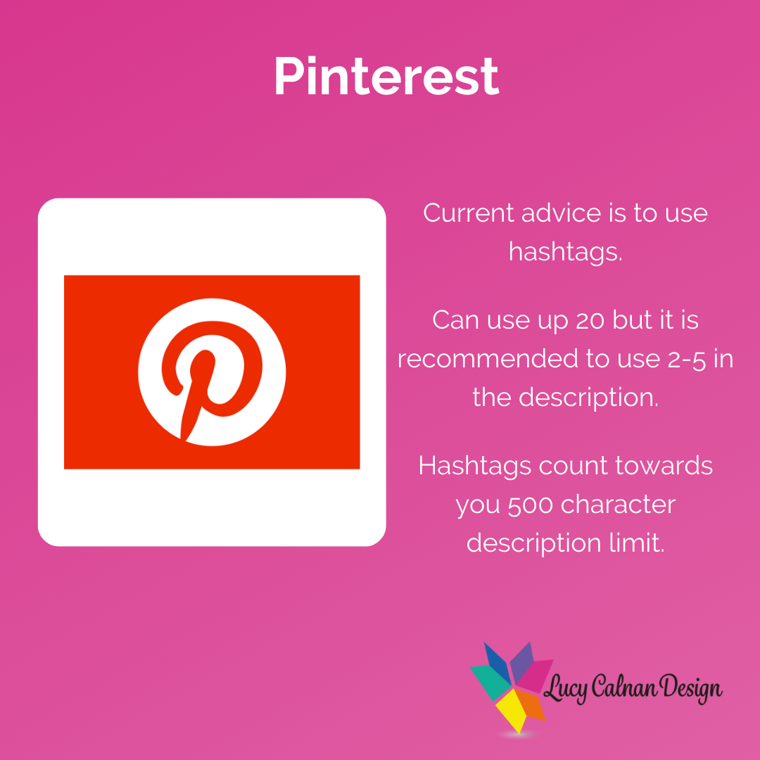Advice for hashtag usage Pinterest
